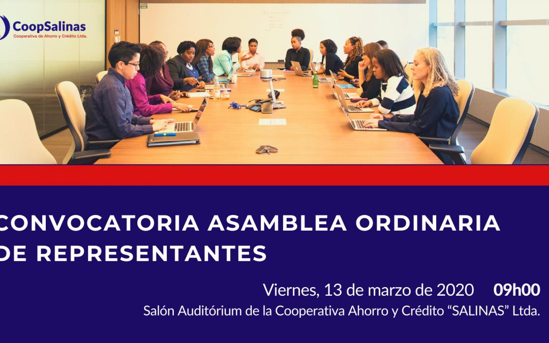 CONVOCATORIA ASAMBLEA ORDINARIA DE REPRESENTANTES